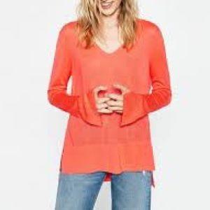 Zara Knit Lightweight Slit Long Sleeve High-Lo Top